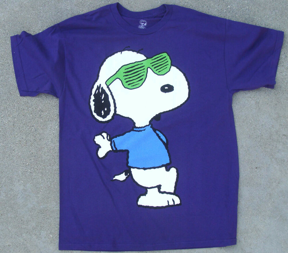 joe cool snoopy w sunglasses purple tee shirt adult sizes. Black Bedroom Furniture Sets. Home Design Ideas
