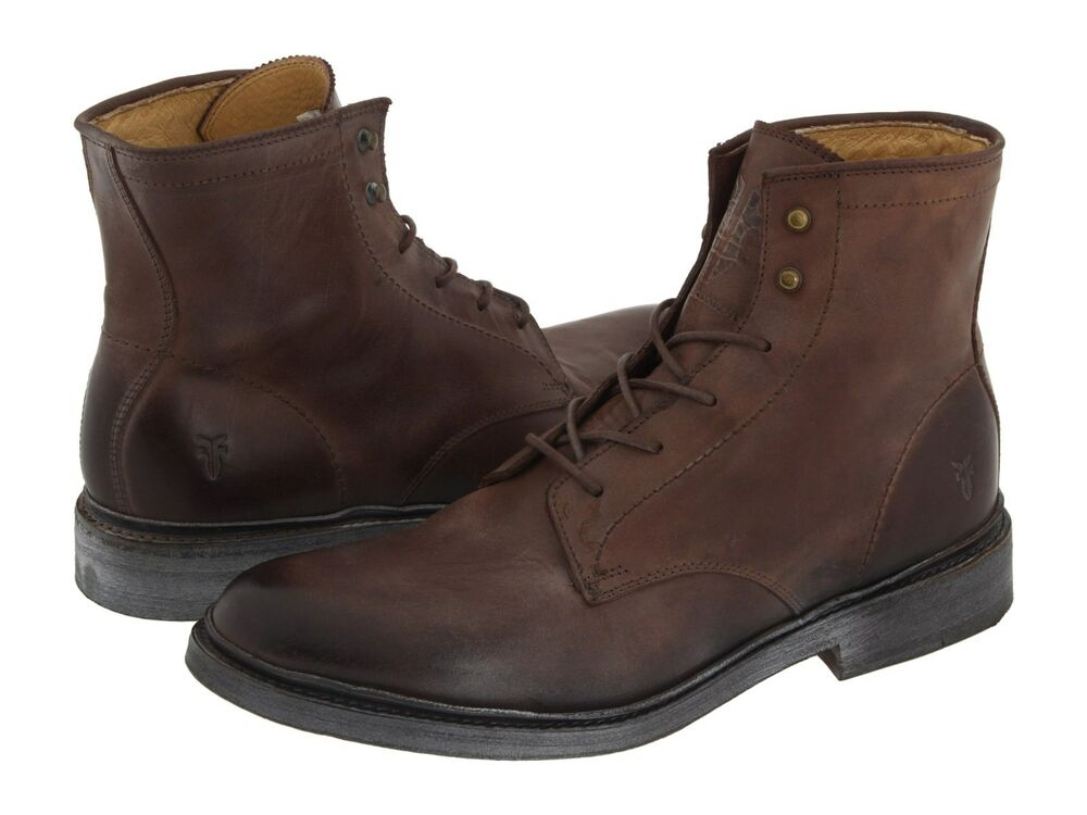 mens frye boots 87124 brn 6 lace up boot brown ebay