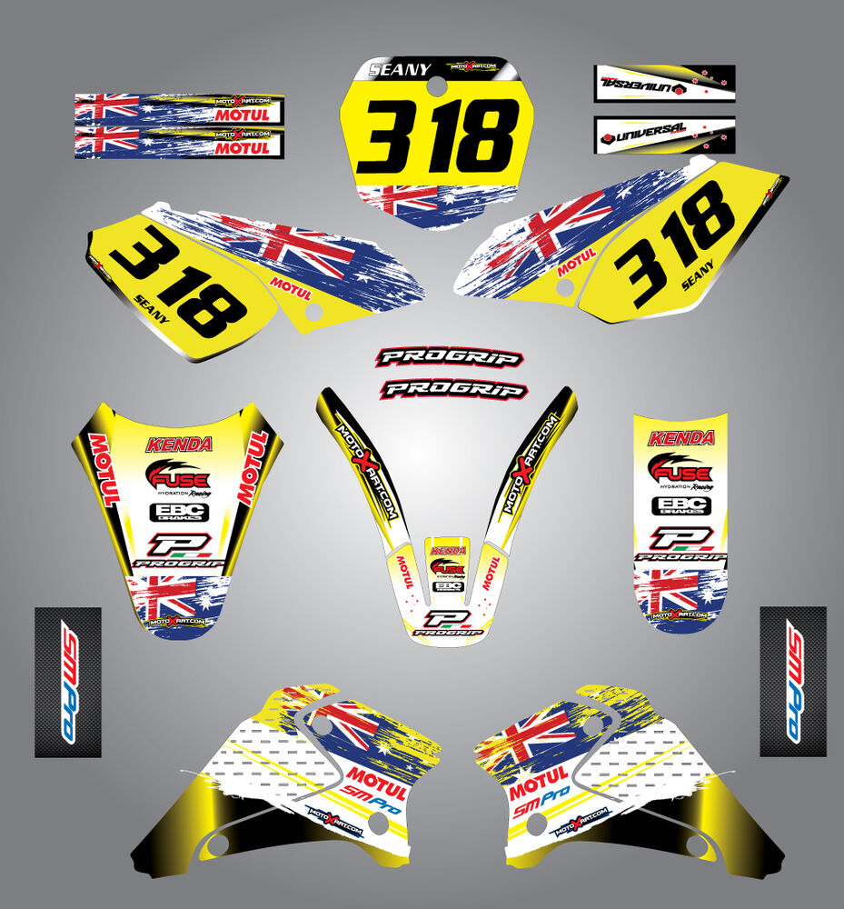 Full custom graphic kit aussie pride suzuki drz 125 2001 2007
