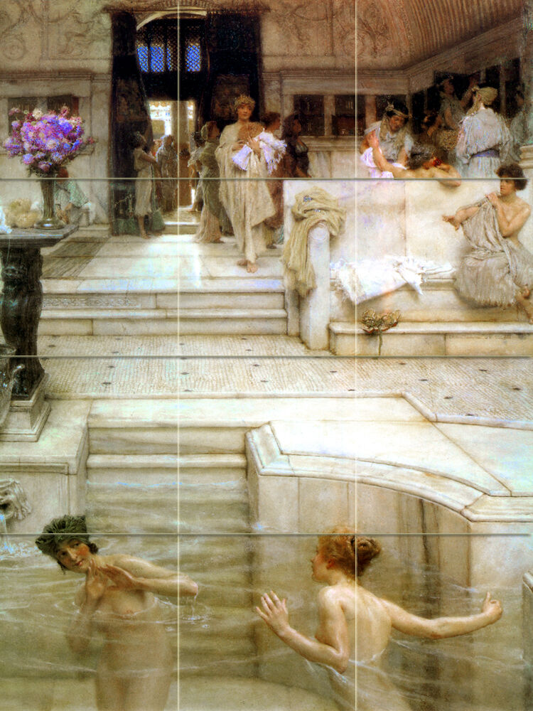 Alma tadema art mural ceramic backsplash bath tile 29 ebay for Artwork on tile ceramic mural