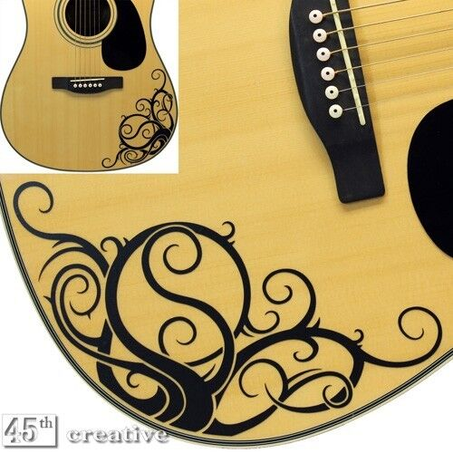 yin yang vine acoustic guitar graphic decal fits standard dreadnought sizes ebay. Black Bedroom Furniture Sets. Home Design Ideas