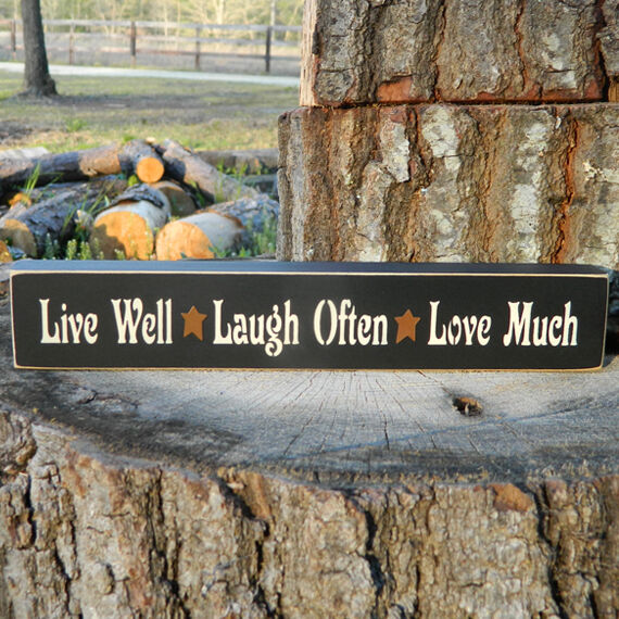 live well laugh often love much wood shelf sign 21 colors to choose from ebay. Black Bedroom Furniture Sets. Home Design Ideas