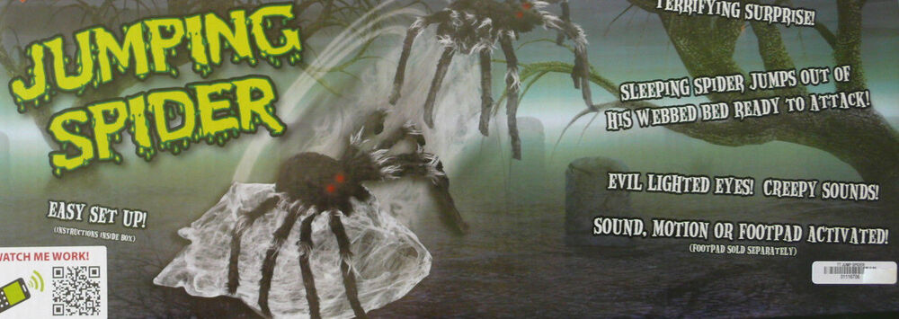 Halloween huge animated jumping spider lighted eyes prop for Animated spider halloween decoration