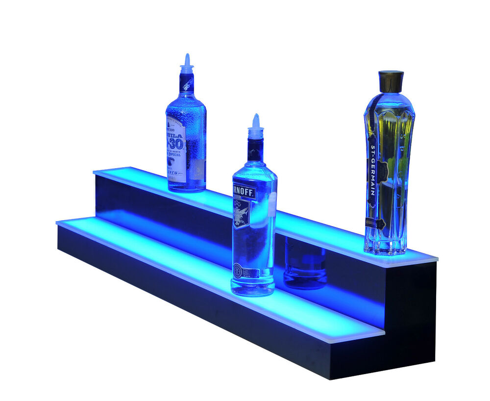 """44"""" Color Changing Bar Shelf Two Tier Bottle Glorifier Home Lighted ..."""