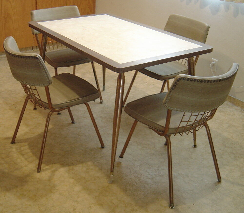 Retro Original 60's Formica Table 4 Chairs Copper Taupe