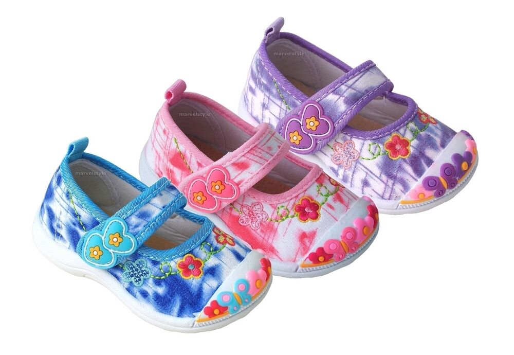 BABY GIRLS CANVAS SHOES PLIMSOLLS - NURSERY SHOES UK size ...