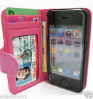 Pink Apple iPhone 4 4G 4S 4GS Wallet Credit Card Flip Leather Pouch Case Cover