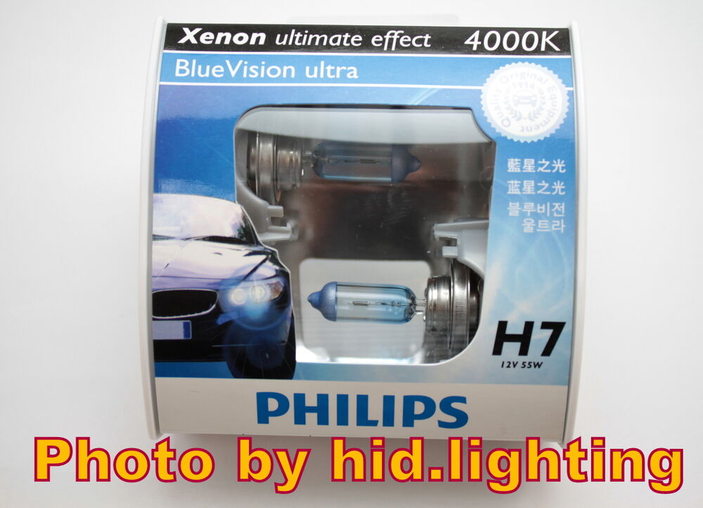 genuine philips blue vision ultra h7 4000k headlight bulb 12972 bvu light beam ebay. Black Bedroom Furniture Sets. Home Design Ideas