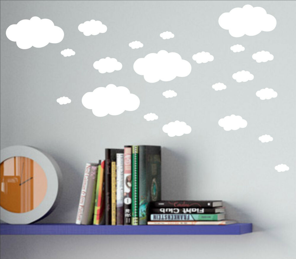 Paper Clouds Wall Decor : Set of clouds cloud decal sticker vinyl wall art