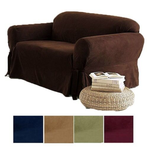 2 Pc Soft Micro Suede Couch Sofa Loveseat Slip Cover Brown Black Beige Sage New Ebay