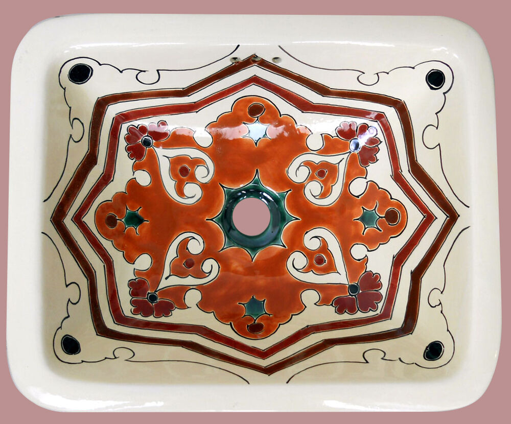 Sq 126 Mexican Rectangle Bathroom Sink Talavera Hand Made Ceramic Basin Ebay