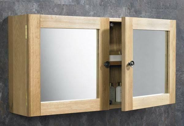 75cm x 38cm solid oak wall mounted double door bathroom