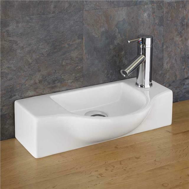 narrow sink 44cm x space saving countertop shaped sink cloakroom basin ebay. Black Bedroom Furniture Sets. Home Design Ideas