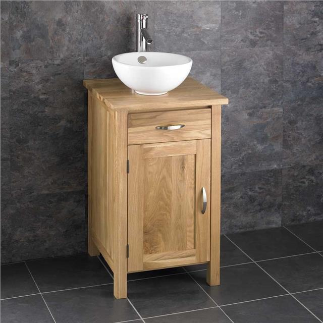 Round Bathroom Sink Bowls : 45cm Square Bathroom Cabinet Solid Oak Furniture Round Sink Bowl ...
