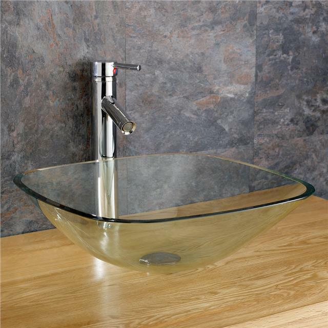 Moda 31cm square sink glass bathroom basin countertop bowl cloakroom sink ebay - Glass cloakroom basin ...