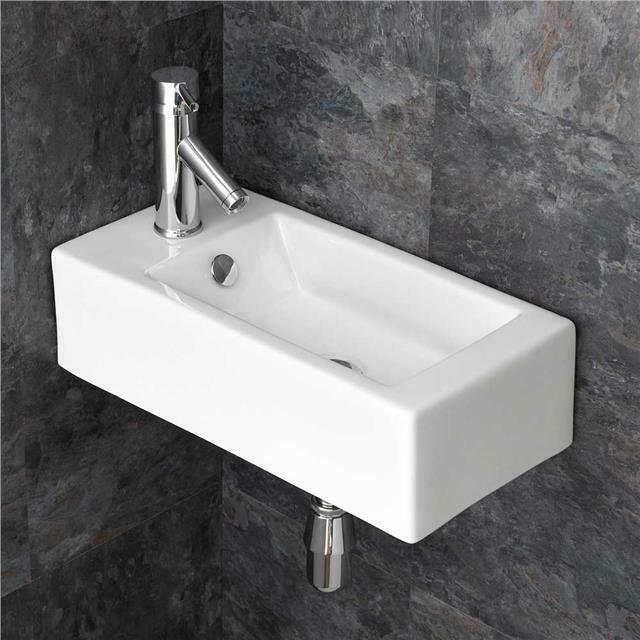 Wall Mounted 50cm x 24.5cm En Suite Cloakroom Narrow Sink Basin eBay