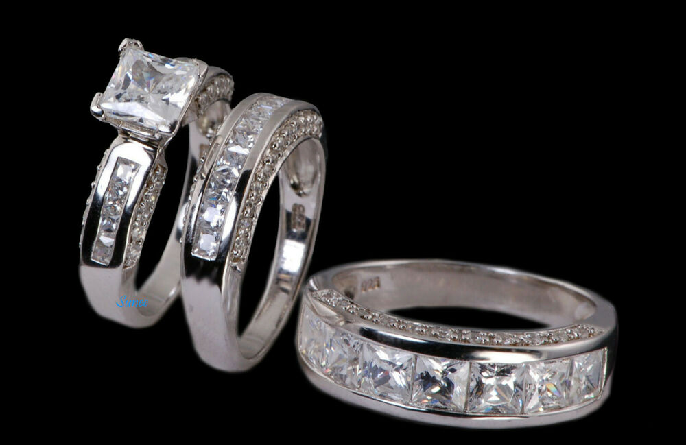 His Amp Hers 14k White Gold 925 Sterling Silver Engagement Ring Wedding Band Set