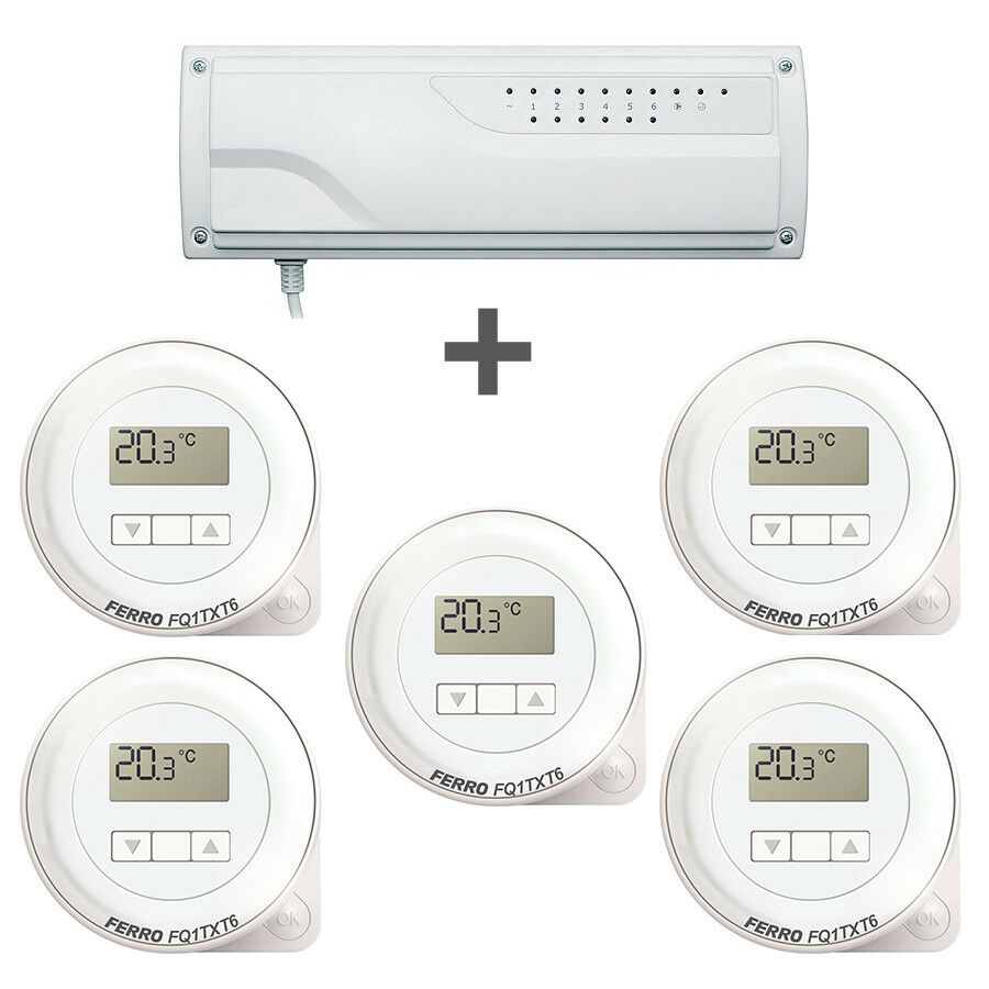funk empf nger regelklemmleiste f fu bodenheizung 5x digital raumthermostat ebay. Black Bedroom Furniture Sets. Home Design Ideas