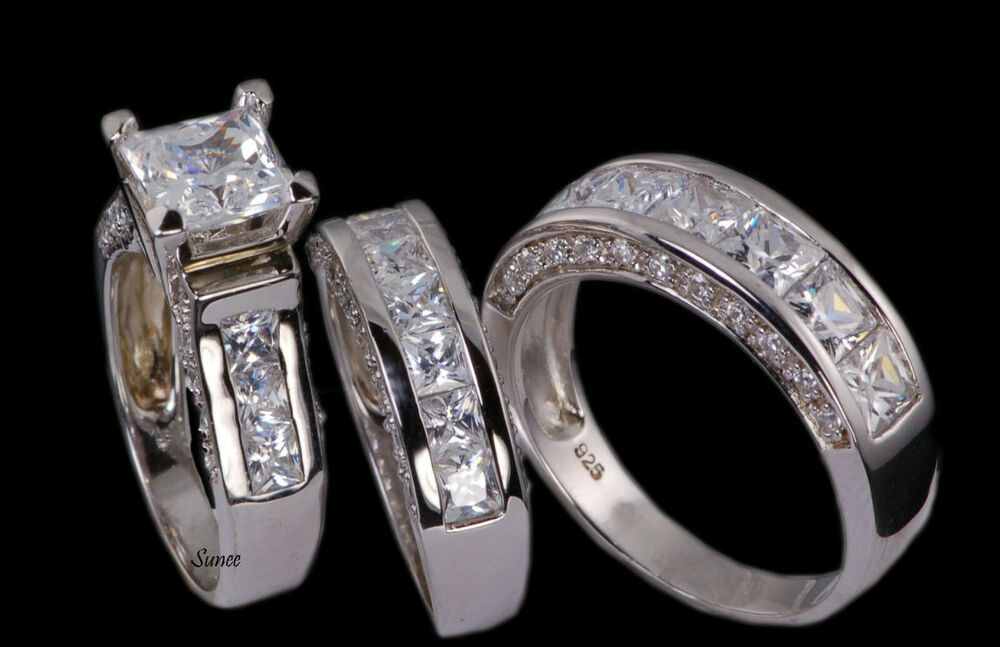 His Amp Hers Matching Engagement Wedding Ring Bridal Set 925 Sterling Silver 5 13