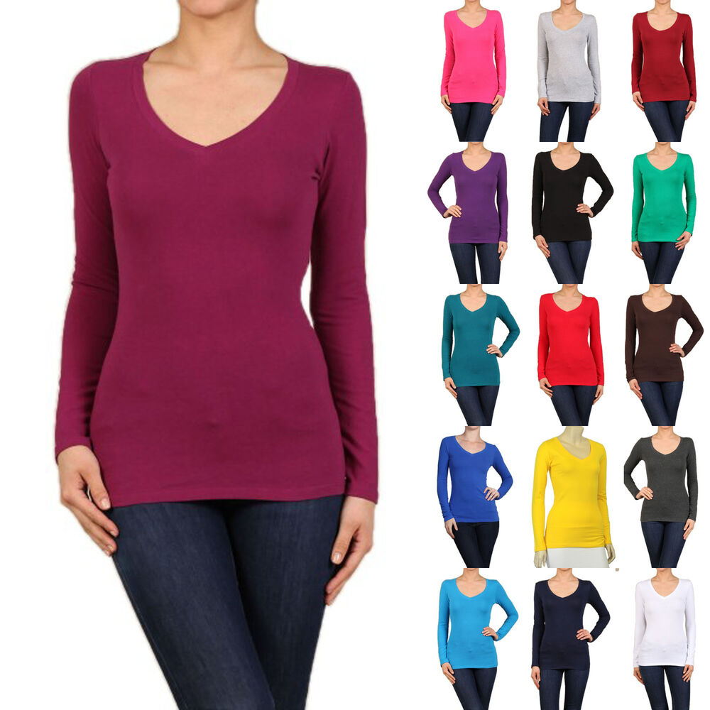Cotton T Shirts V Neck Long Sleeve Women Junior Solid Top
