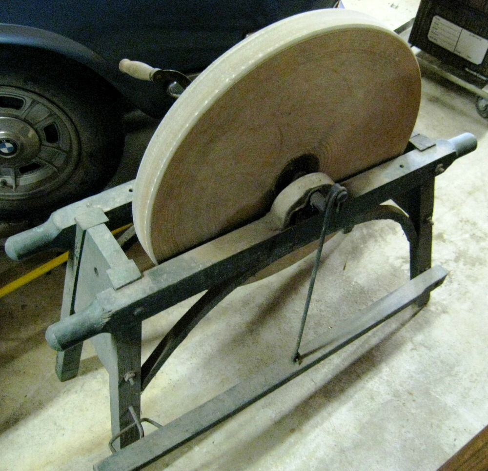 Antique Bench Grinding Stone Sharpening Wheel Grinder W