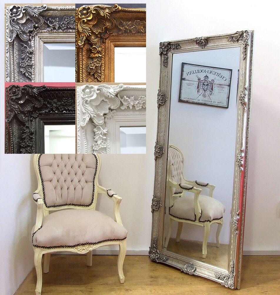 Abbey Antique Style Full Length Leaner Mirror Gold Cream