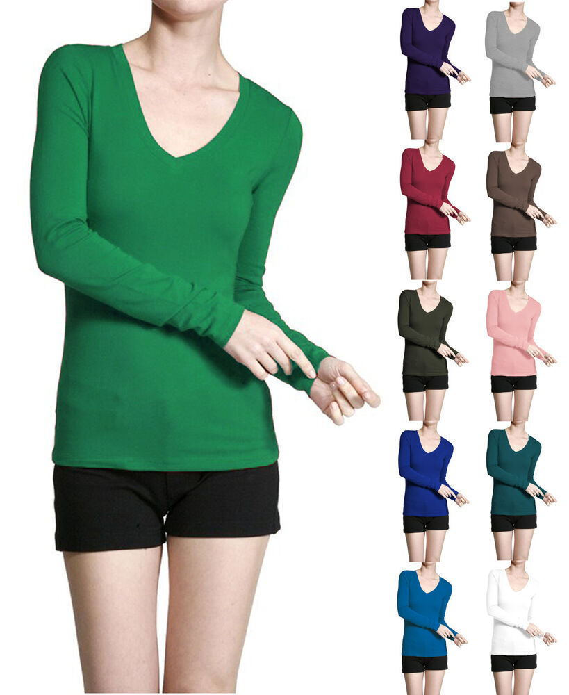 Basic V Neck Long Sleeve Fitted Solid Top Womens Plain