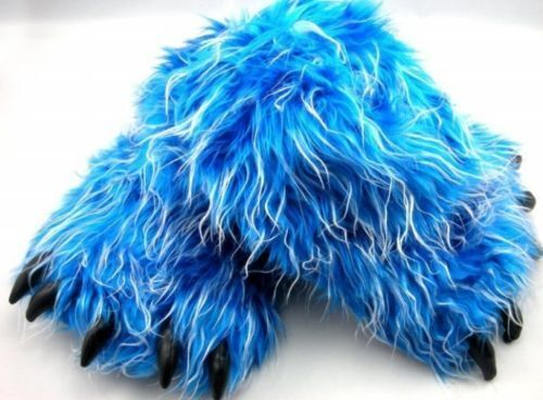 Monster Long Hair Blue Big Foot Bear Animal Plush Claw Paw ...