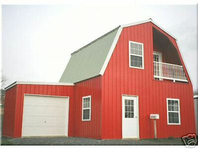 Insulated galvanized steel gambrel building kit cabin can for Metal cabin kits