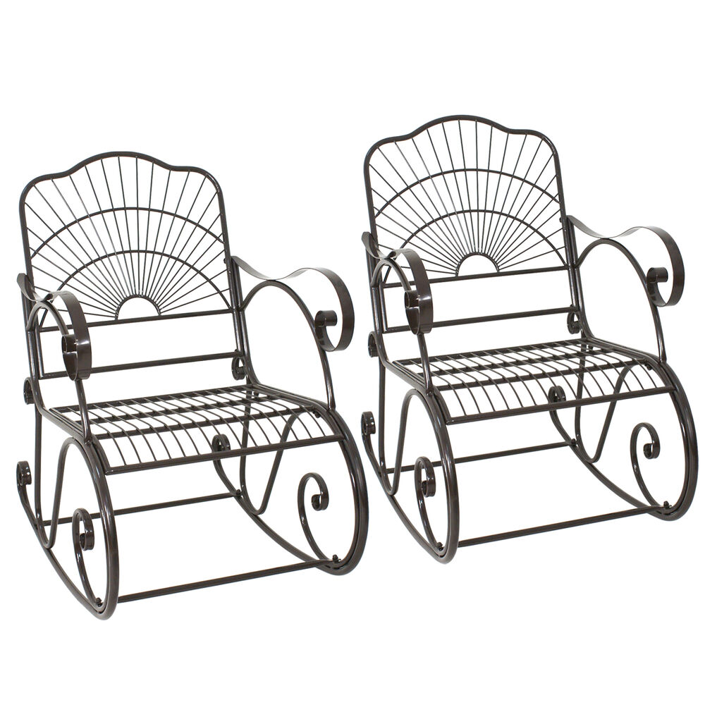 Pair Of Rocking Chair Outdoor Patio Furniture Porch Seat Deck Iron Glider Rocker Ebay