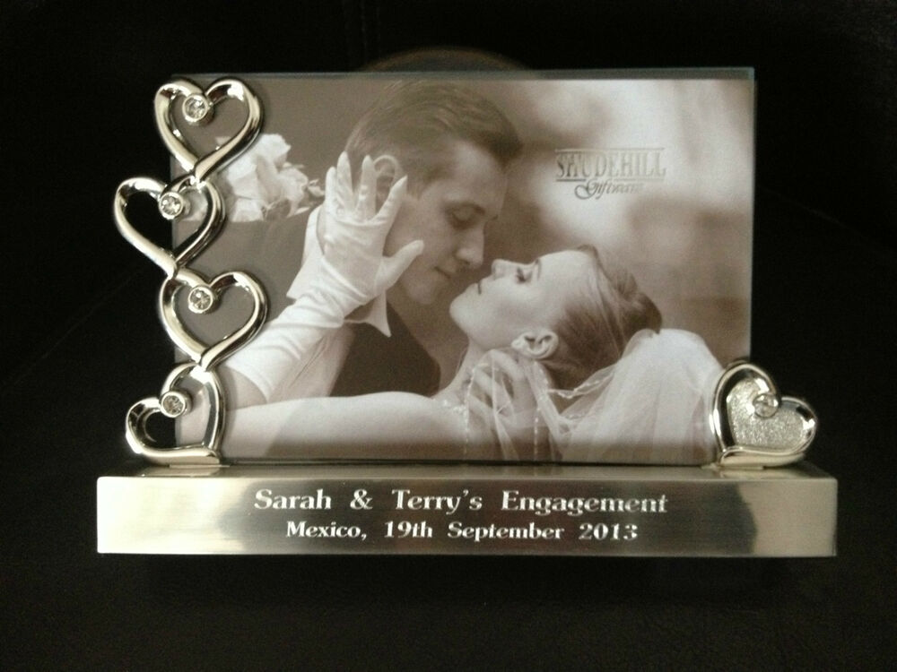 personalised engraved silver hearts photo frame 6 x 4 wedding
