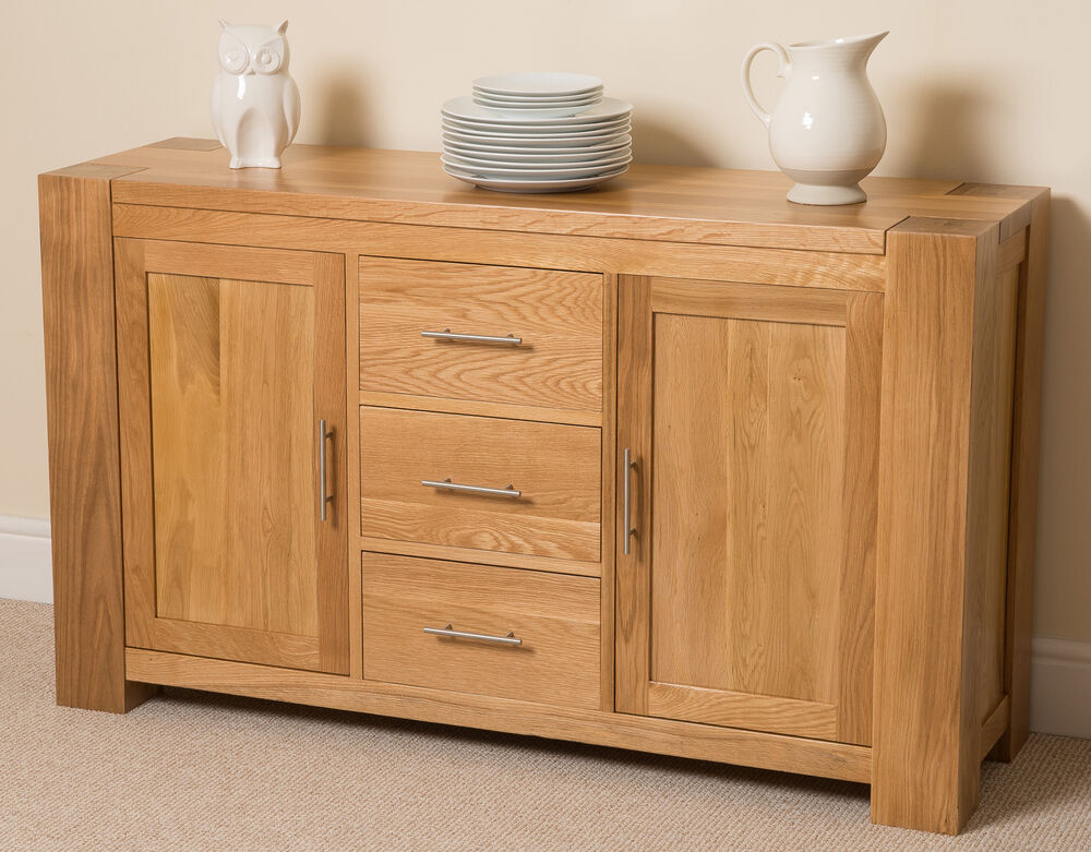 Kuba solid oak wood large sideboard 3 drawers and 2 doors for Solid oak furniture