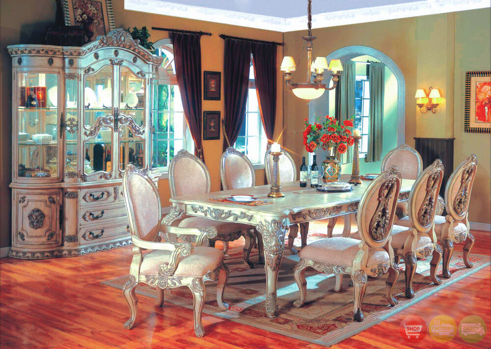 Whitehall traditional formal 9 pc dining room set table chairs antique white ebay - Pc dining room set ...