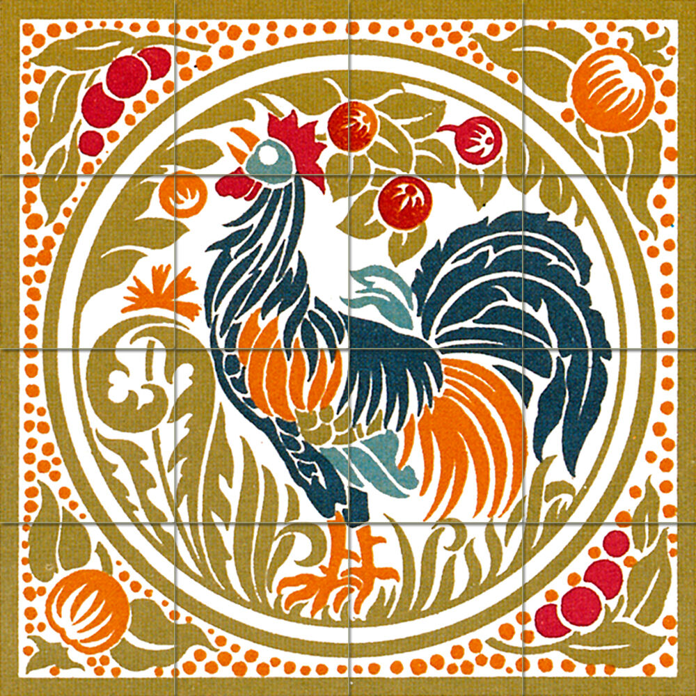 17 x 17 mural ceramic art nouveau rooster backsplash tile for Artwork on tile ceramic mural
