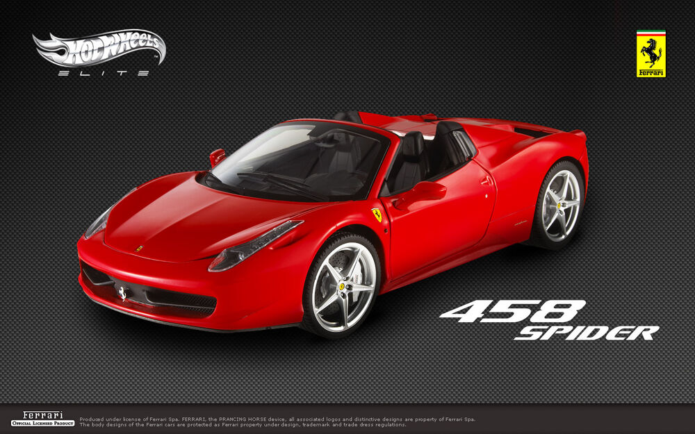 hot wheels elite ferrari 458 italia spider red 1 18. Black Bedroom Furniture Sets. Home Design Ideas