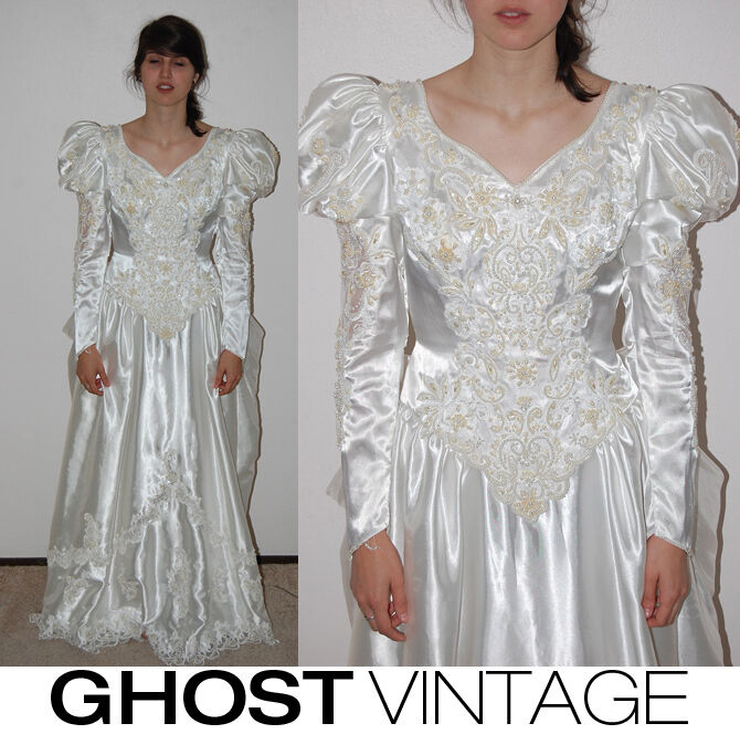 Vintage Wedding Dresses 80s: VINTAGE WEDDING GOWN (M) Sequin 80s EMBROIDERED Bow Lace