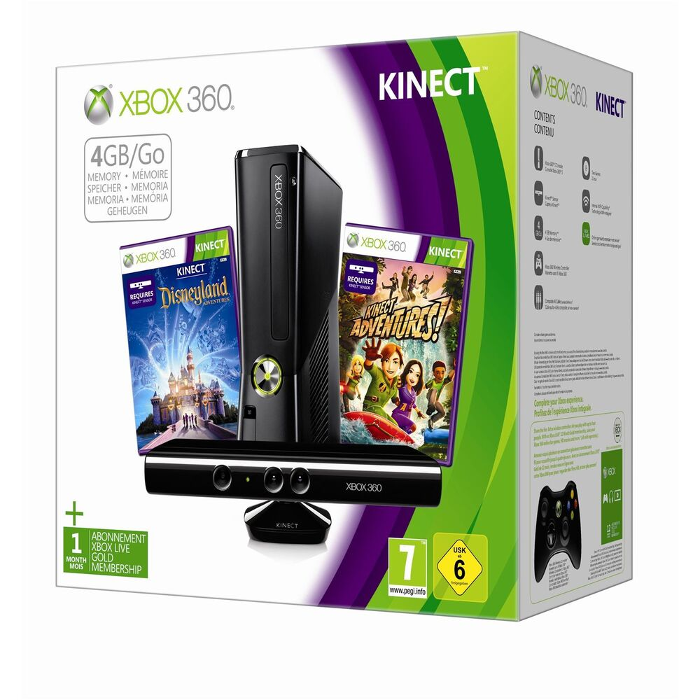 Xbox 360 4gb kinect console holiday bundle 2012 2 games pal aus brand new ebay - Xbox 360 console kinect bundle ...