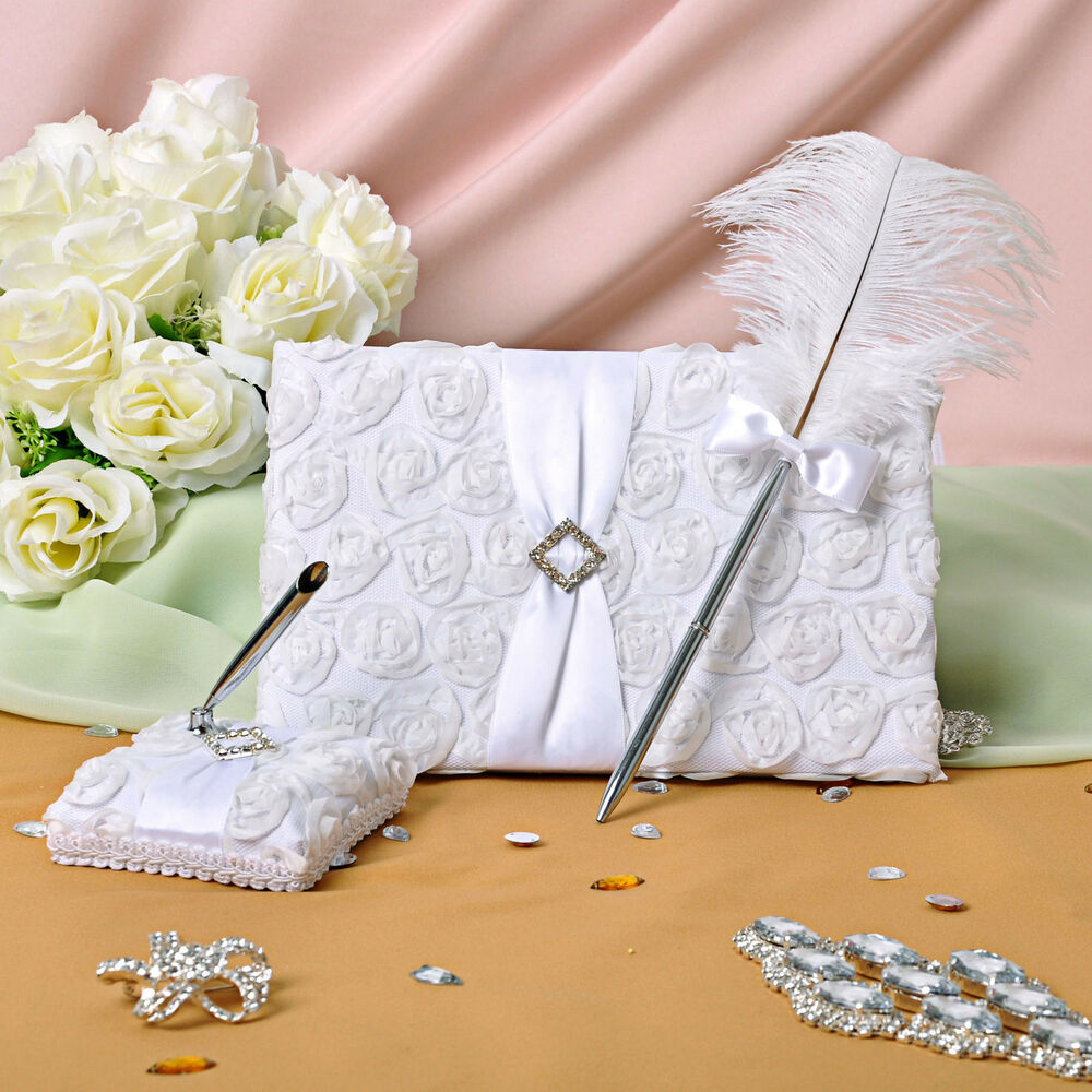 New White Flora Rose Wedding Ceremony Satin Guest Book Feather Pen Set ...