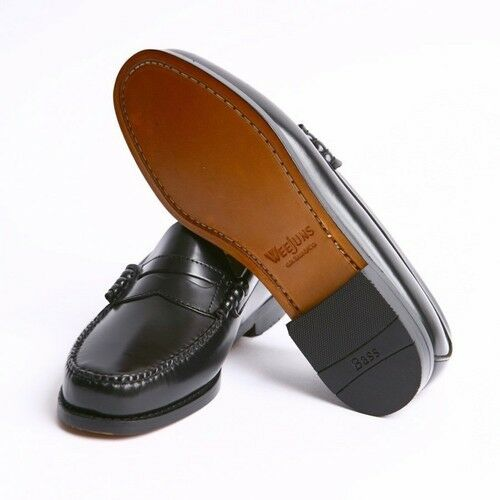 Men's Bass SlipOn Penny Loafers Shoe Larson Black Leather ...