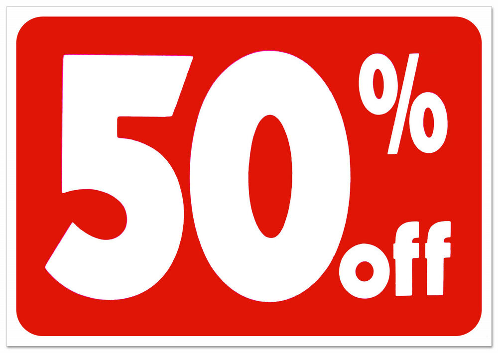 Printable Sign For Sale: 50% Off Retail Store Sale Business Discount Promotion