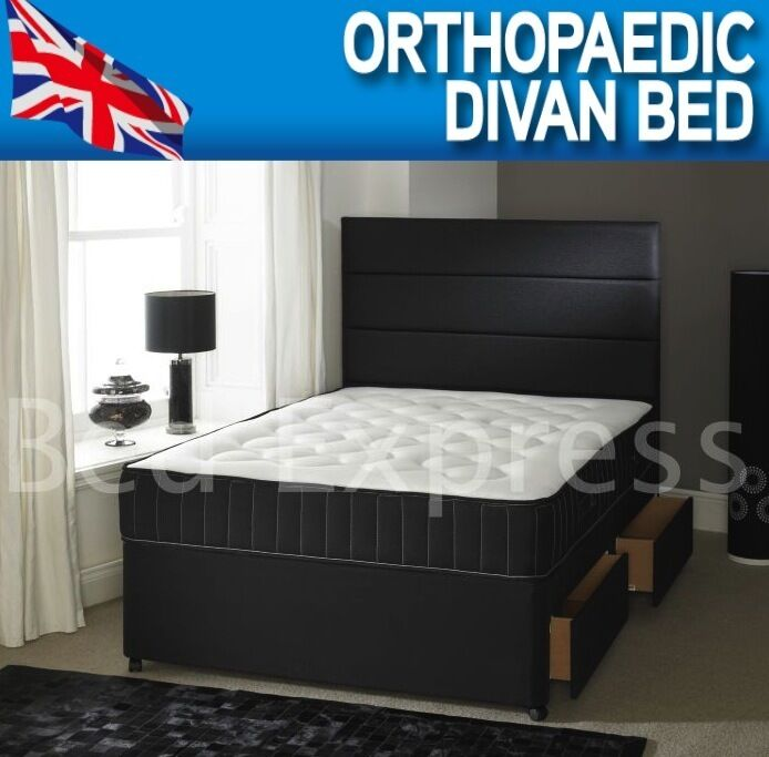 4ft Small 4ft6 Double Orthopaedic Divan Bed 10 Inch Orthopaedic Medium Mattress Ebay
