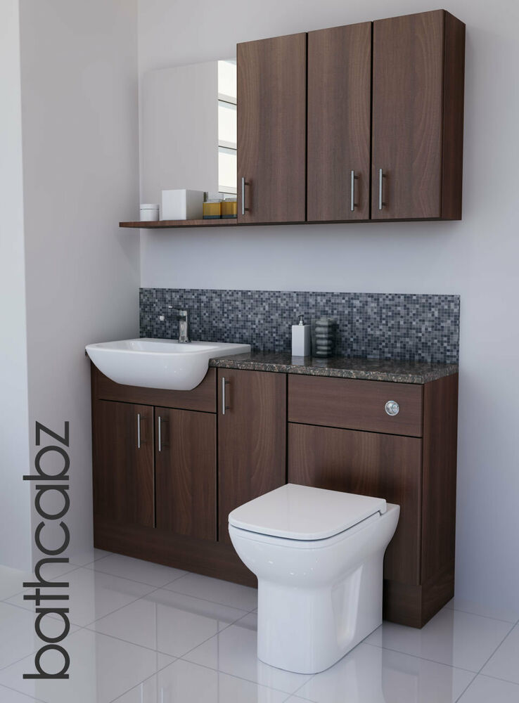 american walnut bathroom fitted furniture 1400mm with wall. Black Bedroom Furniture Sets. Home Design Ideas