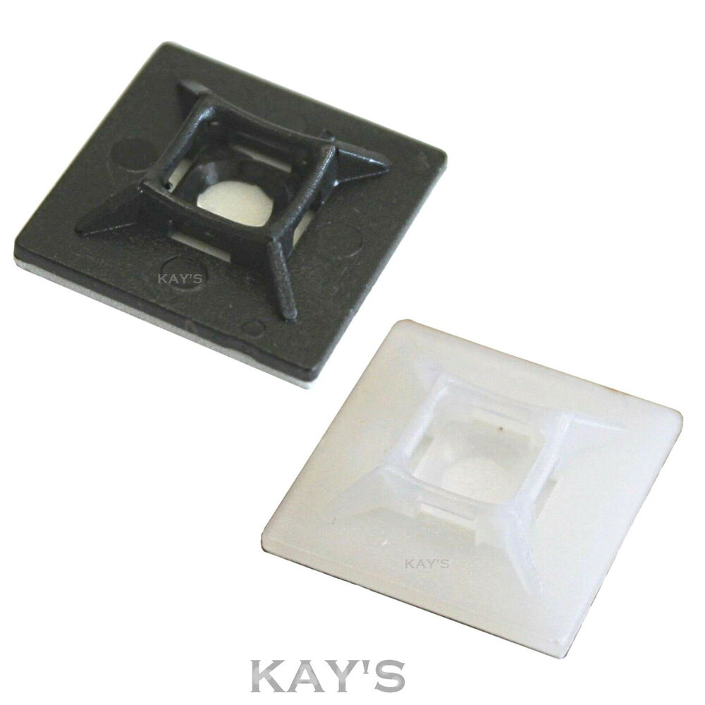 Self Adhesive Cable Tie Base Mounts Sticky Backed Black
