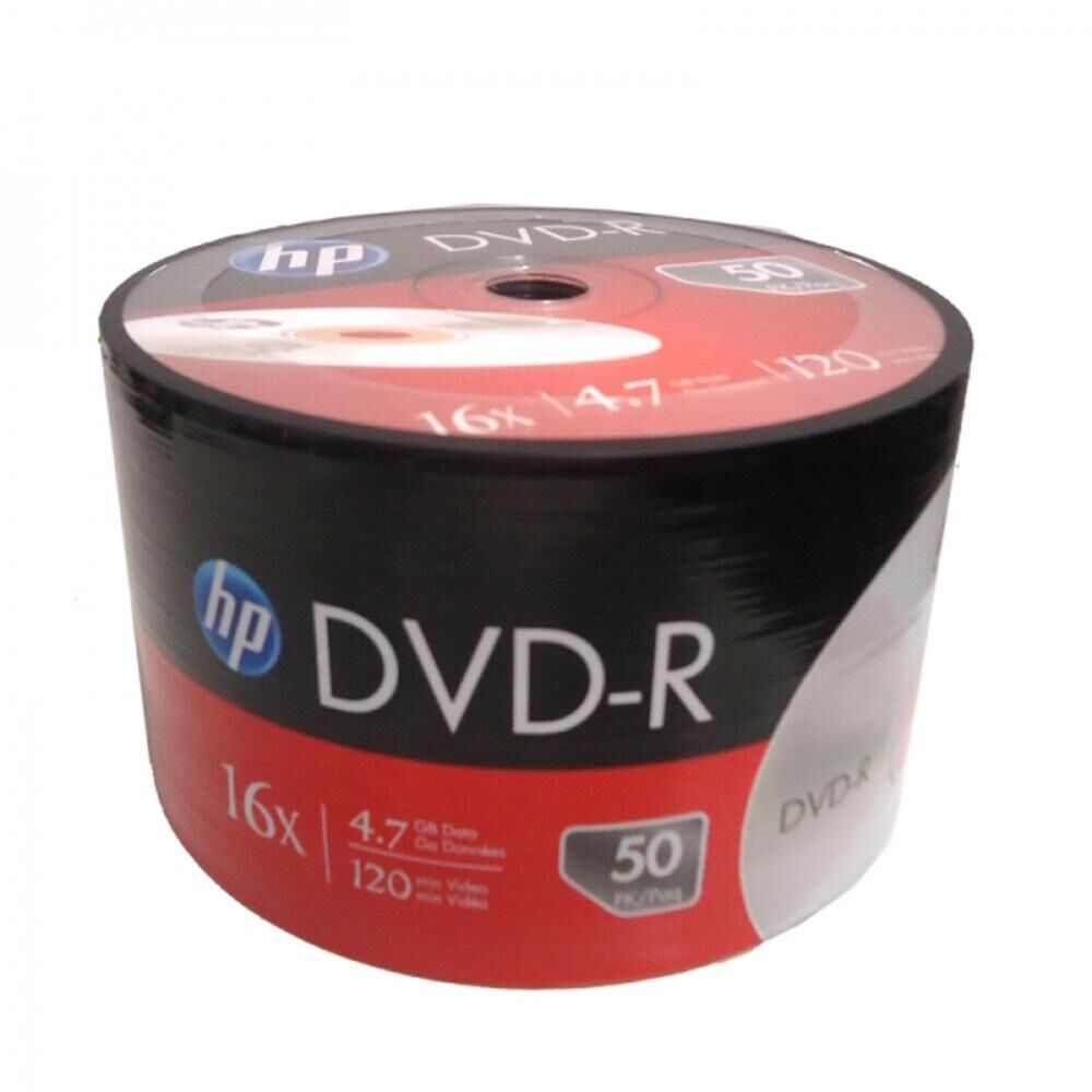 Details about   100-Pack HP 16X Logo DVD-R DVDR Blank Disc Media 4.7GB Bulk Pack