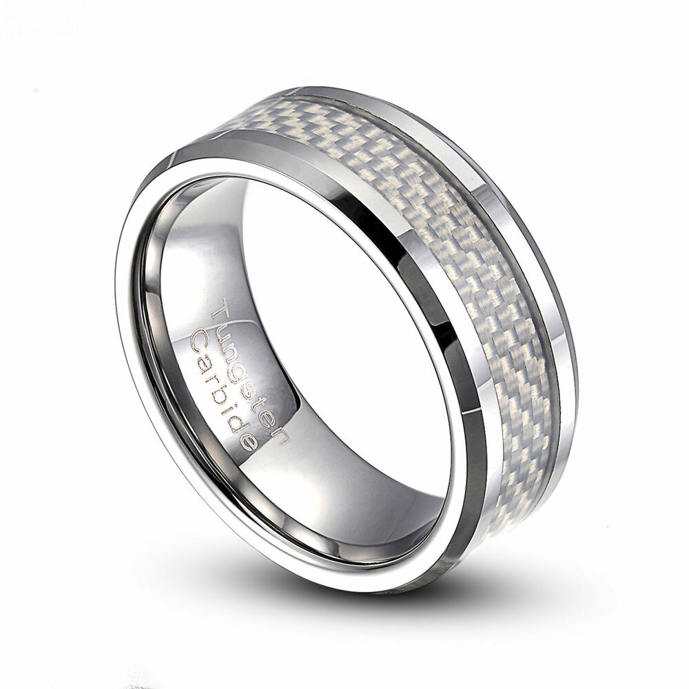 carbide ring white carbon fiber inlaid wedding band size 9 14 ebay