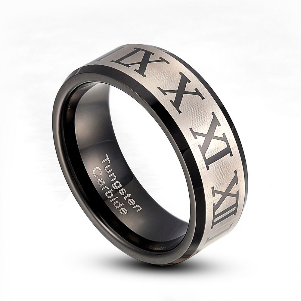 Roman Numeral Wedding Bands: Men's 8mm Tungsten Carbide Ring Roman Number Wedding Band