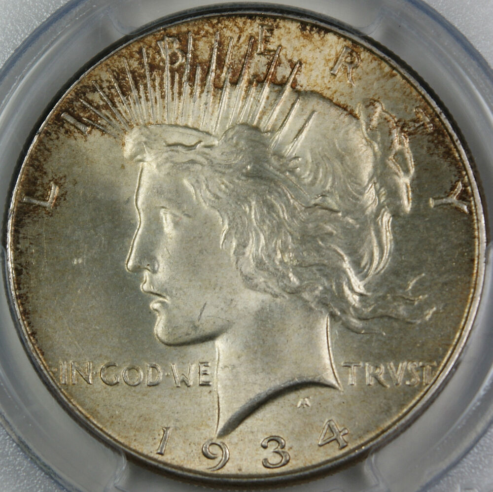 1934 Peace Silver Dollar Coin Pcgs Ms 64 Rim Toned Great