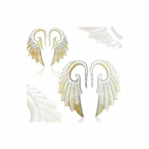 Mother Of Pearl Left Angel Wing Decor: PAIR Mother Of Pearl Angel Wing Tapers Plugs Expanders