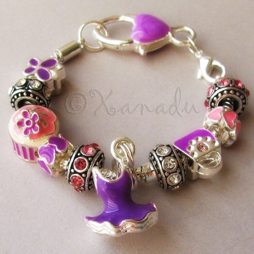 Bracelet With Hearts: Pink And Purple European Charm Bracelet With Rhinestone