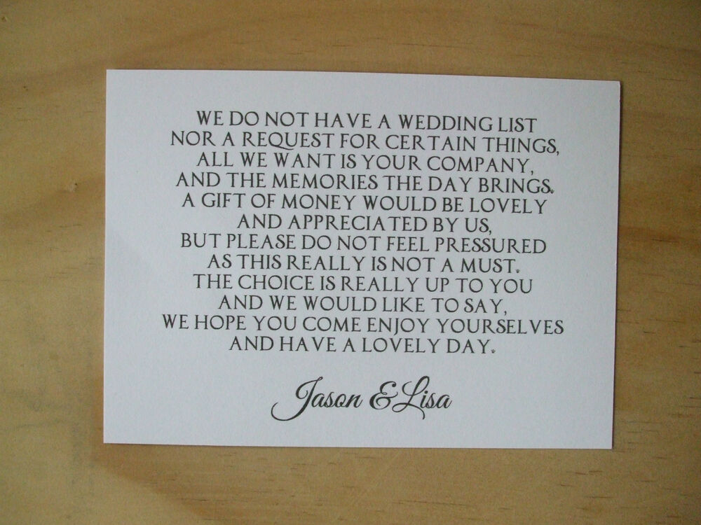 Wedding Gift Cards Online: Wedding Money Request Poem Cards Honeymoon Wish List